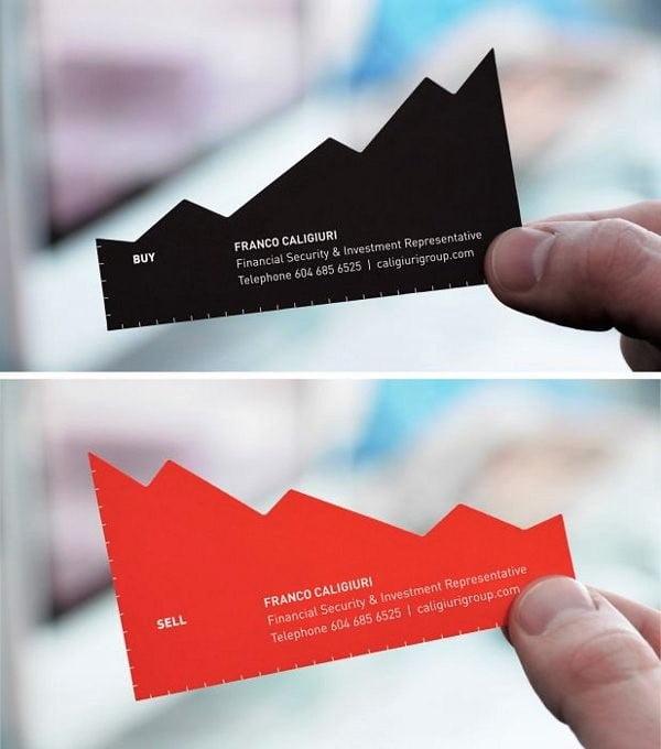 Anverso y reverso en la tarjeta de visita de un consultor financiero italiano.